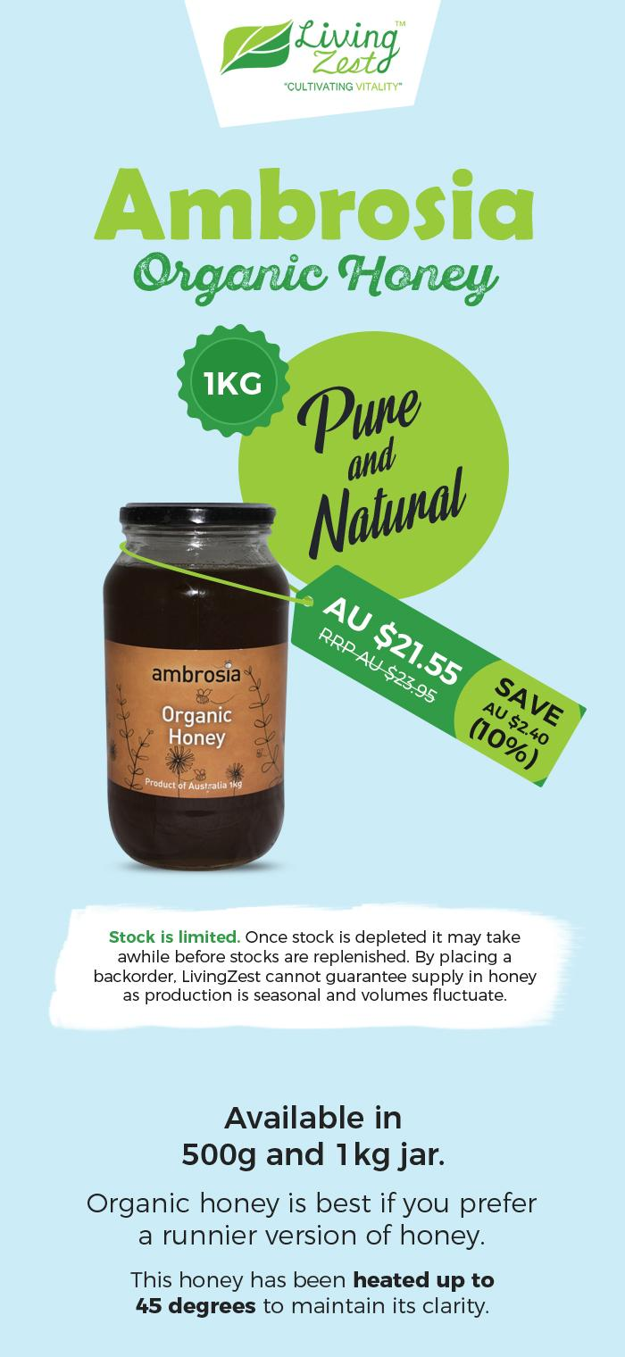 Get Pure & Natural Ambrosia Organic Honey from LivingZest