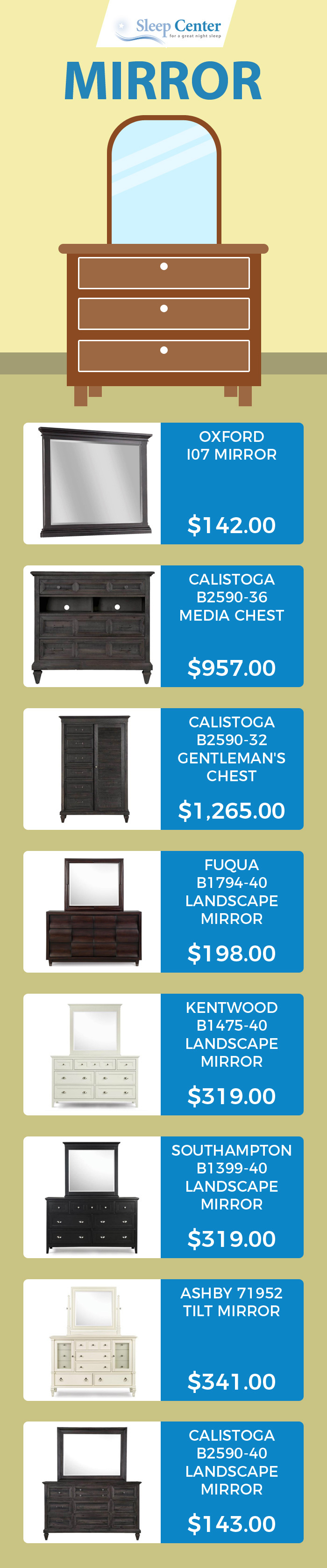 Sleep Center - A Trusted Store to Buy Bedroom Mirrors in Sacramento