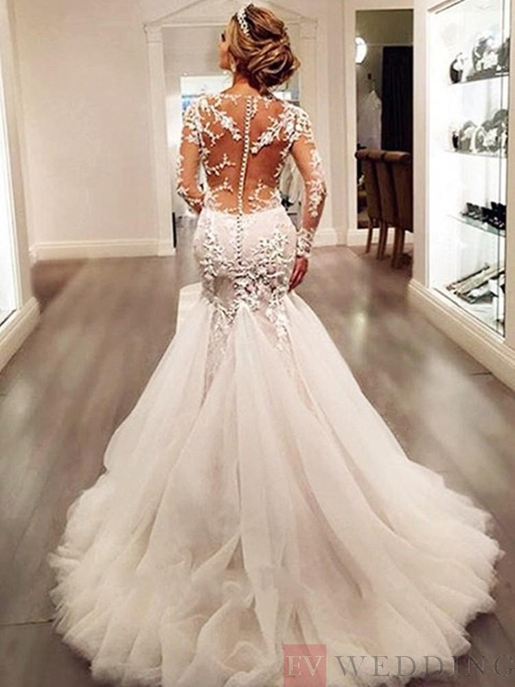 Appliques Scoop Neck Long Sleeves Trumpet/Mermaid Wedding Dress With