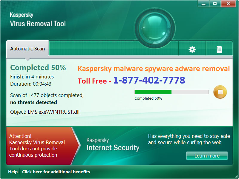 Kaspersky malware spyware adware removal 1-877-402-7778