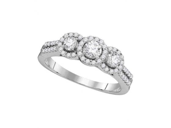 3-Stone Diamond Engagement Ring In 14k White Gold (.75ct)