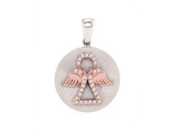 Diamond Angel Medallion Pendant In White Gold (.13ct)