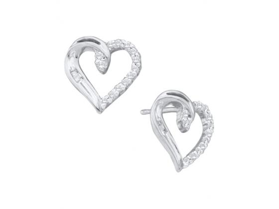 Diamond Heart Love Stud Earrings In 14k White Gold (.17ct)