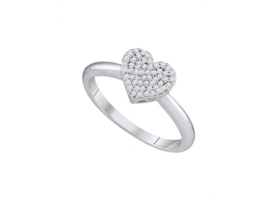Diamond Heart Love Ring In White Gold (.17ct)