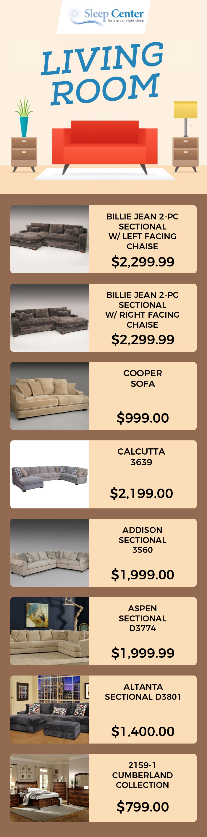 Explore Sleep Center's Living Room Furniture to Fit your Home Decor