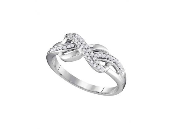 Diamond Infinity Ring In White Gold (.20ct)