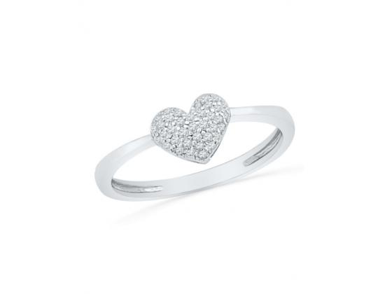 Diamond Heart Cluster Ring In White Gold (.10ct)