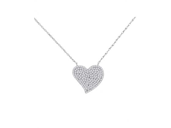 Diamond Heart Cluster Necklace In White Gold (.33ct)