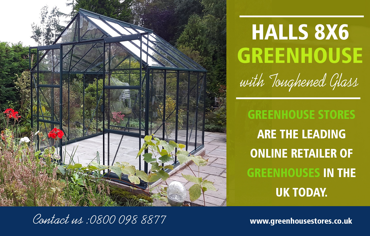 Halls 8x6 Greenhouse with Toughened Glass | 800 098 8877 | greenhousestores.co.uk