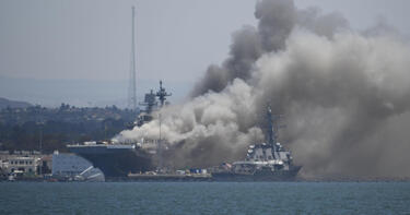 17 sailors injured in fire on board USS Bonhomee Richard at Naval Base San Diego