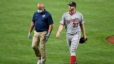 Nationals' Stephen Strasburg leaves start vs. Orioles after 16 pitches