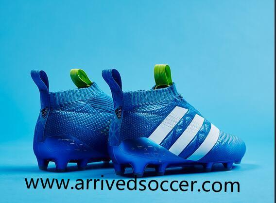 Adidas ACE 16+ PureControl FG blue and white nail soccer shoes without laceless